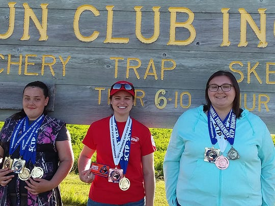 June 22-24, 10 members of the Manitowoc Gun Club Birdbusters represented the community when they competed against 1,500 other athletes at the Wisconsin Scholastic Clay Target Program State Trap championships in Rome, Wisconsin. Pictured, from left: In the Ladies Rookie Division, Hannah Wallen took the state championship in 16-yard Trap, Handicapped Trap and Doubles Trap and she was also awarded the high overall in all three events; in the Ladies Collegiate Division, Alex Konop took the state championship in Handicapped Trap and was awarded third place in 16-yard Trap; and also in the Ladies Collegiate Division was Ashley Sand, our new state champion in 16-yard Trap and third-place winner in Handicapped Trap. Not pictured: In the Men's Collegiate Division, Paul Monk took second place in 16-yard Trap and second place in Handicapped Trap.