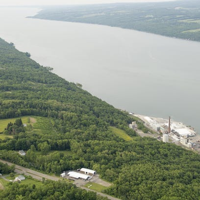 The U.S. Salt mine complex, right, sits on the shore of Seneca Lake, in the town of Reading, looking north up the length of Seneca Lake.