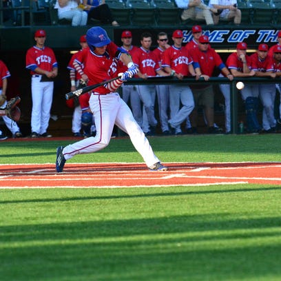 Louisiana Tech's Sean Ulrich hits a pitch last week against McNeese State. The Bulldogs are 27-14 and have won four straight series.
