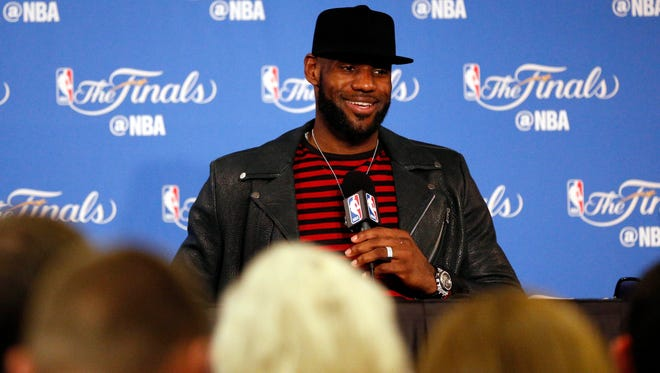 LeBron James at a press conference after Game 5 of the 2017 NBA Finals against the Golden State Warriors at Oracle Arena.