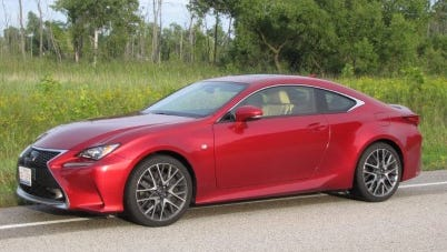The Lexus RC 200t uses a 241-horse 2.0-liter I4 with twin turbos to pump up the power.