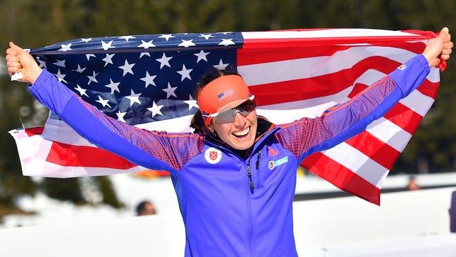 Vermont native Susan Dunklee celebrates her silver medal in the Women's 12.5km Mass Start race at the IBU Biathlon World Championships in Hochfilzen, Austria, 19 February 2017.