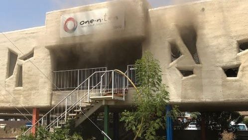 A fire broke out at the former headquarters of one.n.ten, an organization supporting LGBTQ youth in Phoenix, on July 12, 2017.