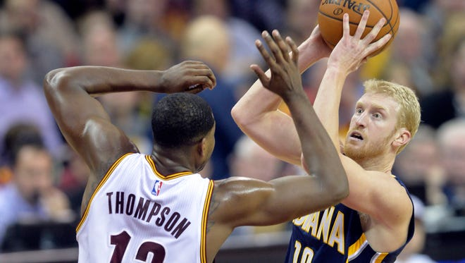 Chase Budinger shoots against Cleveland's Tristan Thompson while a member of the Indiana Pacers on Feb. 28, 2016.
