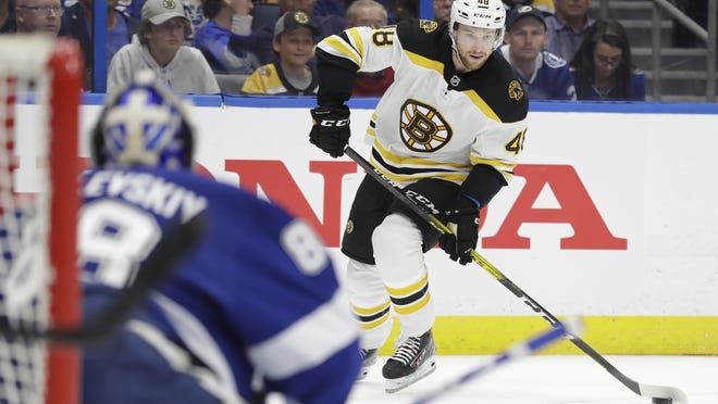 Boston Bruins defenseman Matt Grzelcyk (48) is a candidate to replace Torey Krug on the Bruins' power-play unit after agreeing to a new four-year, $14.75 million contract with the team, Saturday, Oct. 17, 2020.