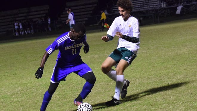 Bolton senior Nicolas Mboungou leads the Bears in goals (31) and points (99) this season.
