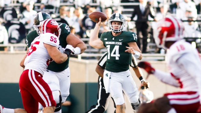 Brian Lewerke completed 5-for-6 passes for 73 yards in the fourth quarter to rally the sluggish Spartans past the Hoosiers, 17-9, last season in East Lansing.