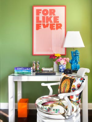 Designer Betsy Burnham recommends having a sheet of glass cut to fit the top of a child's desk, as she did for the bedroom pictured here, in order to protect the furniture from wear and tear in Hancock Park, Calif.