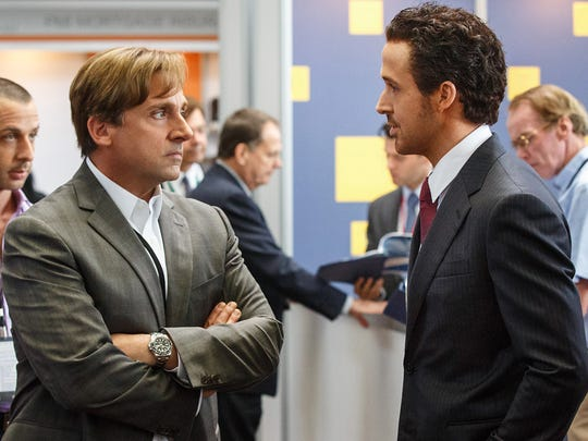 Steve Carell, left, and Ryan Gosling star in 'The Big Short.'