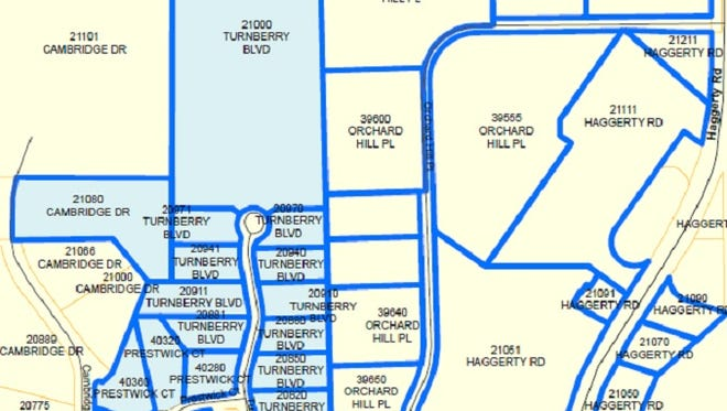 The properties on this map, outlined in blue, are under a boil-water notice from the city of Novi.