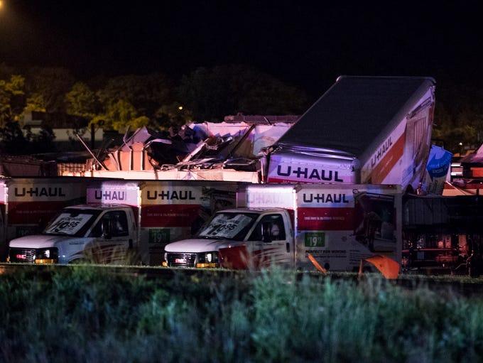 U-Haul trucks parked on Mundy Street in Wilkes-Barre