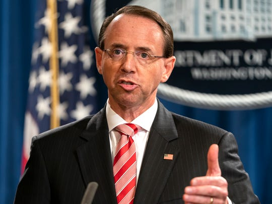 Deputy Attorney General Rod Rosenstein announces that