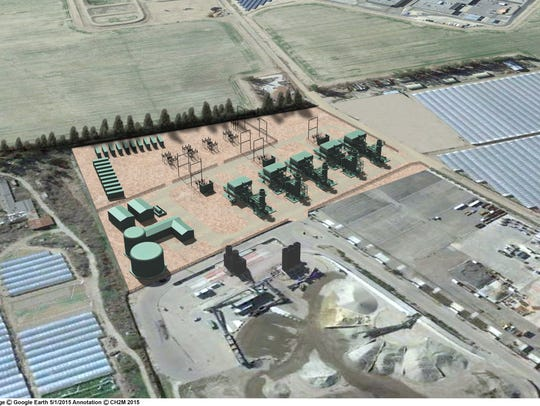 This rendering shows an aerial view of a proposed power