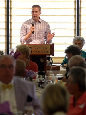 Political consultant Marc Troast speaks at the East Valley Republican Women Federated luncheon on May 5, 2014, at Desert Falls Country Club in Palm Desert. He was then working as district coordinator of Brian Nestande's congressional campaign.