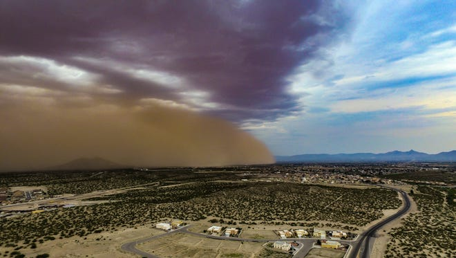 A dust storm, or haboob begins to descend over Las Cruces on Saturday, June 24, 2017. This photo, looking toward the East Mesa, was taken from a drone launched off of Del Rey Boulevard.