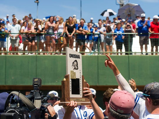 Dixie High School wins the Class 4A baseball state championships against Desert Hills at Dixie State University Saturday, May 19, 2018. Dixie won 1-0.