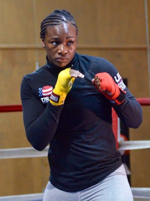 Flint native Claressa Shields shadow boxes Monday, July 10, at Kronk Boxing Community Center in preparation for her upcoming boxing match against undefeated Nikki Adler slated for Aug. 4 at MGM Grand Detroit.
