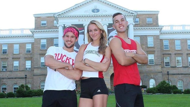 """Zack Kemmerer (from left), Taylor Amann and Andrew Philibeck make up the University of Wisconsin team competing on """"Team Ninja Warrior: College Madness."""""""