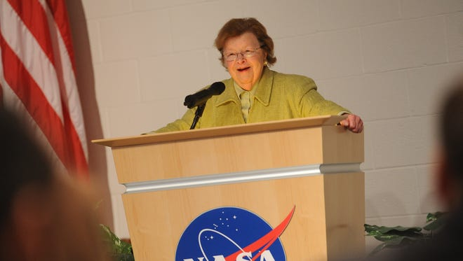 U.S. Sen. Barbara Mikulski addresses a large group of Wallops Flight Facility employees during a tour on Tuesday, May 3, 2016. During her tenure as a U.S. senator, Mikulski has been a champion for NASA and Wallops Flight Facility. She is set to retire at the end of her current term.