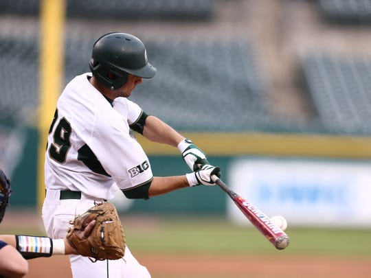 Freshman infielder Kory Young at the plate during Michigan State's 4-2 win over Michigan Tuesdy at Detroit's Comerica Park