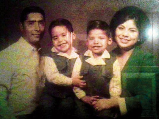 (L to R) Tony, Anthony, Cruz and Lorraine in 1974 in their first family photo.