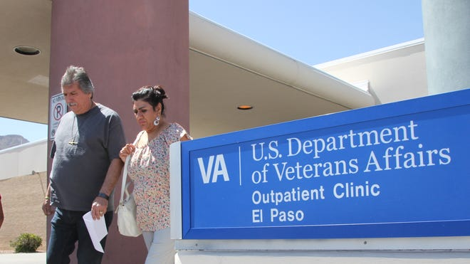 David and Marianne Trujillo exit the Veterans Affairs facility in El Paso on June 9, 2014.