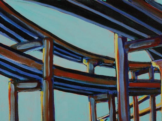 """""""Marquam Bridge"""" by Ann Altman will be featured in """"Water Under the Bridge,"""" an exhibit of her acrylic paintings and Deborah Unger's sculpture at the Lunaria Gallery through Aug. 2."""