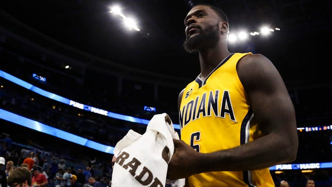 Indiana Pacers guard Lance Stephenson (6) walks off the court after a game against the Orlando Magic at Amway Center.