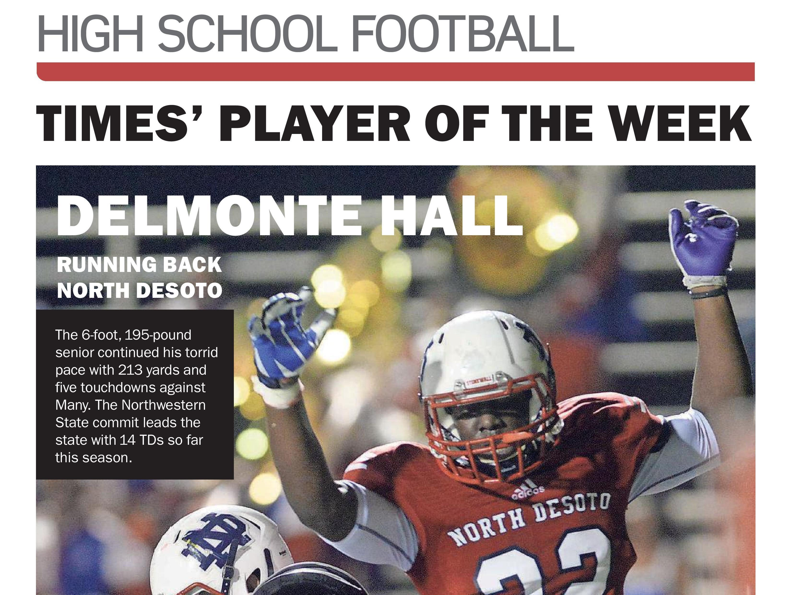 North DeSoto's Delmonte Hall was voted the Player of the Week in Week 3.