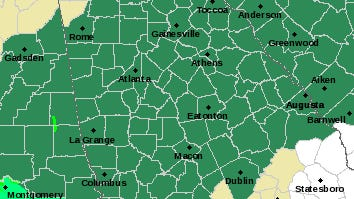 The National Weather Service has placed most of Georgia, including Athens, under a flash flood watch through Friday morning.