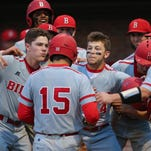 Biloxi players celebrate a home run by Blake Johnson (15) during MHSAA 6A Baseball playoffs in Brandon Friday night.