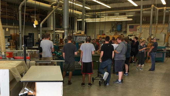 The construction and woods classes from Menasha High School recently attended an exploration day at the Fox Valley Technical College Oshkosh campus, Spanbauer center. They had the opportunity to explore careers in woods manufacturing, residential building trades and participated in an hands-on activity utilizing state-of-the-art equipment.