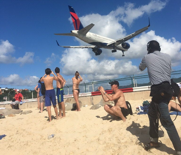 At Princess Juliana International Airport in St. Maarten, planes such as this one April 20, 2016, from Delta Air Lines arrive right on top of sunbathers and snorkelers.