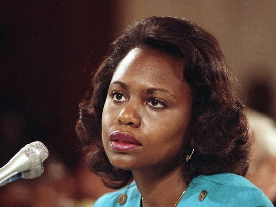 This Oct. 11, 1991 file photo shows law professor Anita Hill testifying before the Senate Judiciary Committee on Capitol Hill in Washington in 1991.