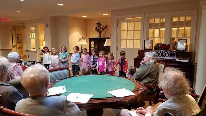 Morris Plains pre-school students singing for seniors.