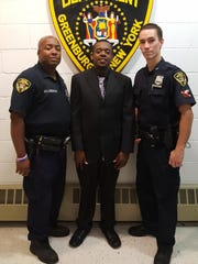 Youth Camp graduates, from left: Greenburgh Police Officer Herman Killiebrew, Police Recruit Craig Thomas and Police Officer Peter Schmidt.