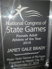 The award Janet Brady won.