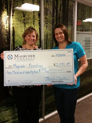 Michele Mueller, director of Development for Magruder Hospital Foundation, presents a check to Laura Muller, director of Oncology at Magruder Hospital, for cancer patients in need.