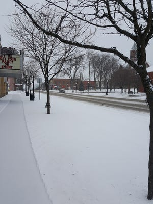 A look down Grand River Avenue on Monday morning in downtown Howell shows that winter has made itself known again.