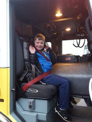 Jackson Dwyer won a ride to school courtesy of Stayton Fire District through Stayton Elementary School's Jump Rope for Heart contest. The school raised $3,435.41.