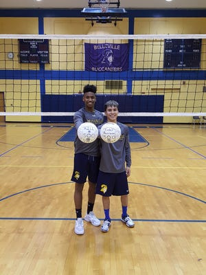 Belleville's Alcides Dos Reis (left) and Fidel Barraza each reached milestones, with the former recording his 500th kill and the latter his 500th career dig.