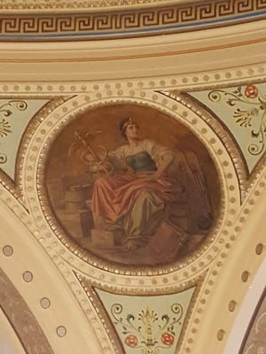 The Medicine medallion by Franz Rohrbeck is in the domed rotunda at the Manitowoc County Courthouse.