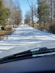 Ice accumulation on Maxwell Road in Davidson County.