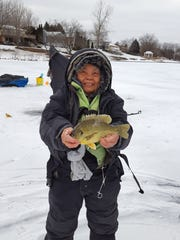 Dolores Jones caught-and-released this redear sunfish through the ice in 2017 as part of the DNR's Master Angler program