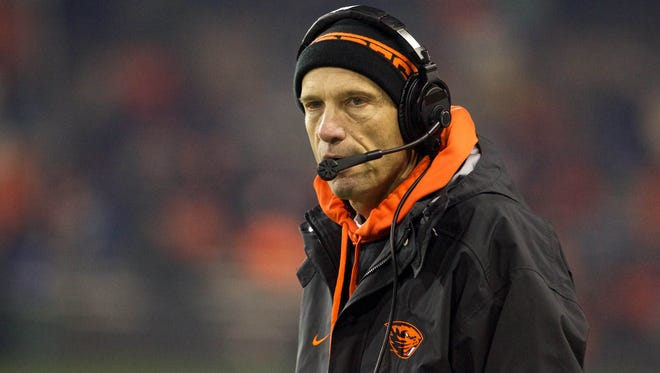 Former Oregon State head coach Mike Riley reacts in the second half against the Washington Huskies at Reser Stadium. Riley was hired Thursday as Nebraska's head coach.