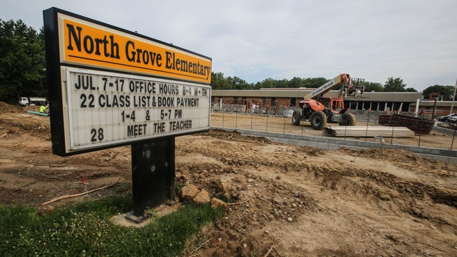 Friday July 25th, 2014, North Grove Elementary School, will be under construction even as school starts Tuesday July 29, through September.