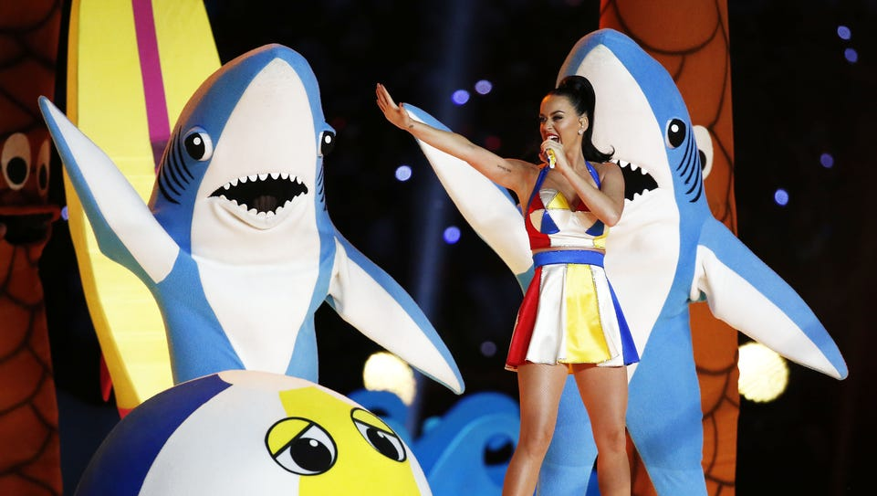 Katy Perry performs the halftime show at Super Bowl