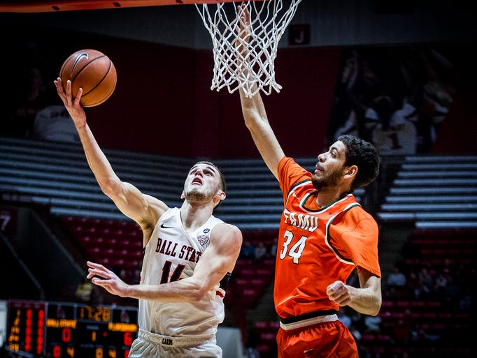 Ball State's Kyle Mallers shoots past Florida A & M's