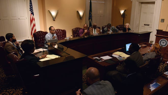 The Jackson City Council discuss a public-private partnership relating to a deficit in Jackson's parks and recreation budget during the City Council meeting at Jackson City Hall Wednesday, Aug. 16, 2017.