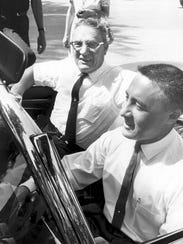 Gus Grissom takes his father for a spin, location unknown